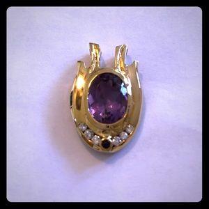 Purple Amethyst & Diamond Pendant 14K Yellow Gold